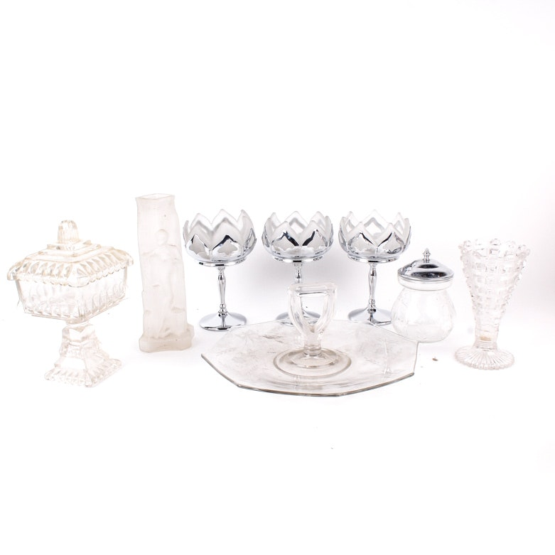 "Selection of Vintage Glass Tableware including Farber Brothers ""Frosted Lotus"""