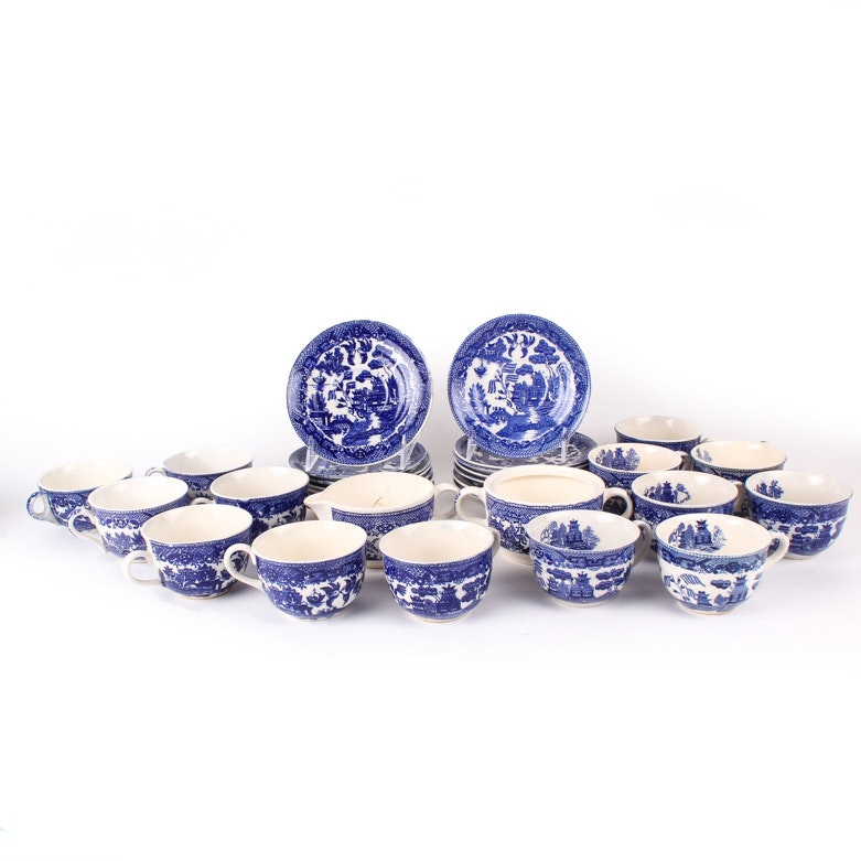 "Assortment of Japanese ""Blue Willow"" Ceramics"
