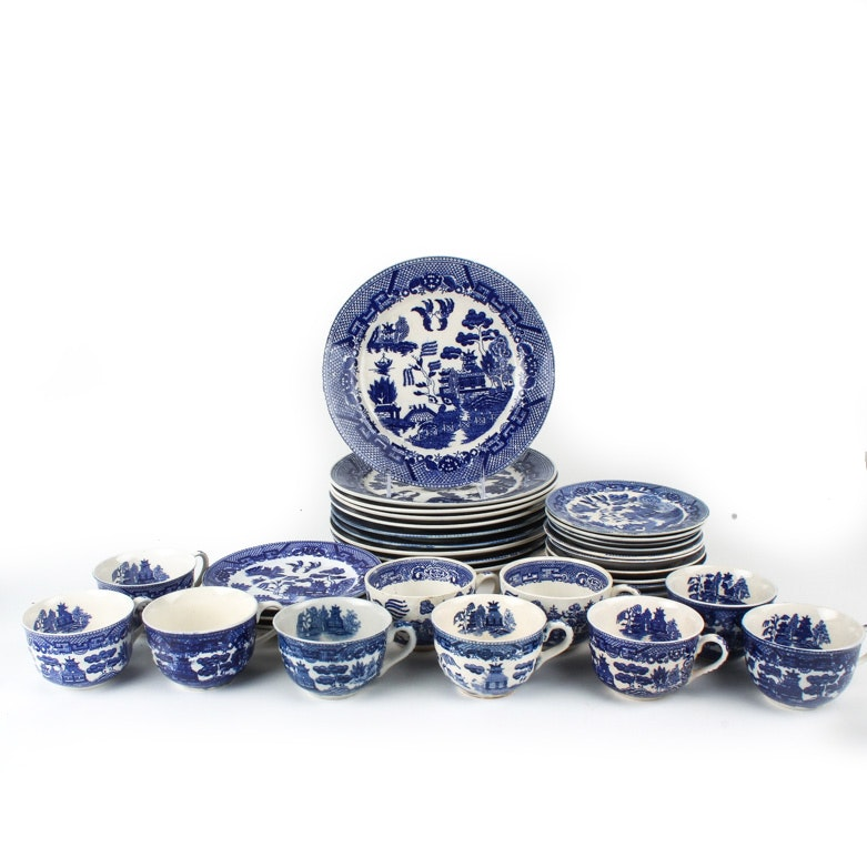 Large Selection of Japanese Blue Willow Porcelain