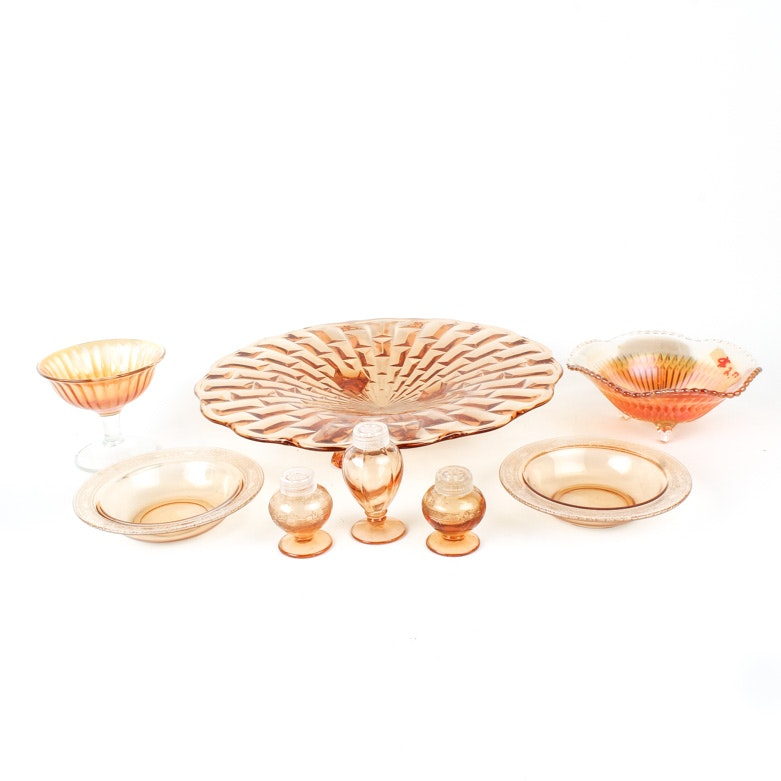 Collection of Amber Depression Glass and Carnival Glass