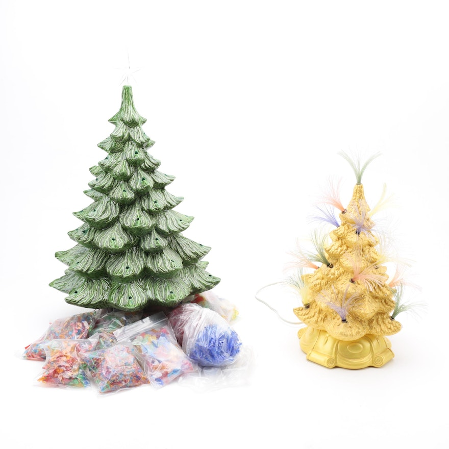 Two Ceramic Christmas Trees And Accessories