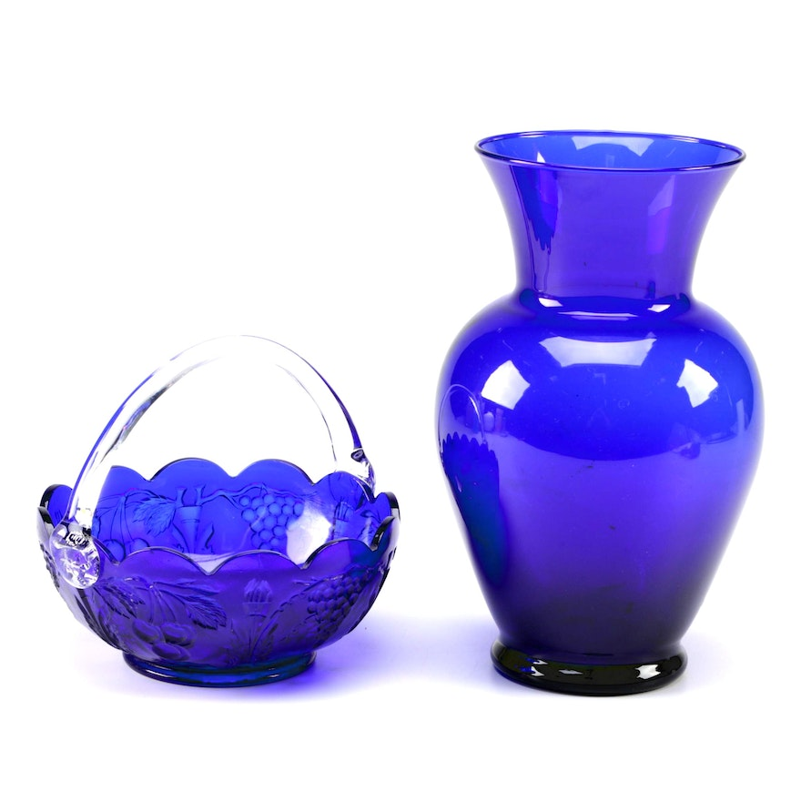 Vintage Cobalt Blue Glass Vase And Basket Ebth