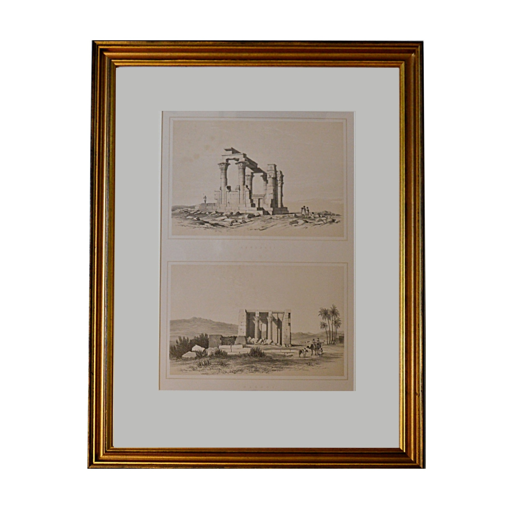"""19th Century Henry Pilleau Lithograph Titled """"Kerdassy"""" and """"Dabode"""""""
