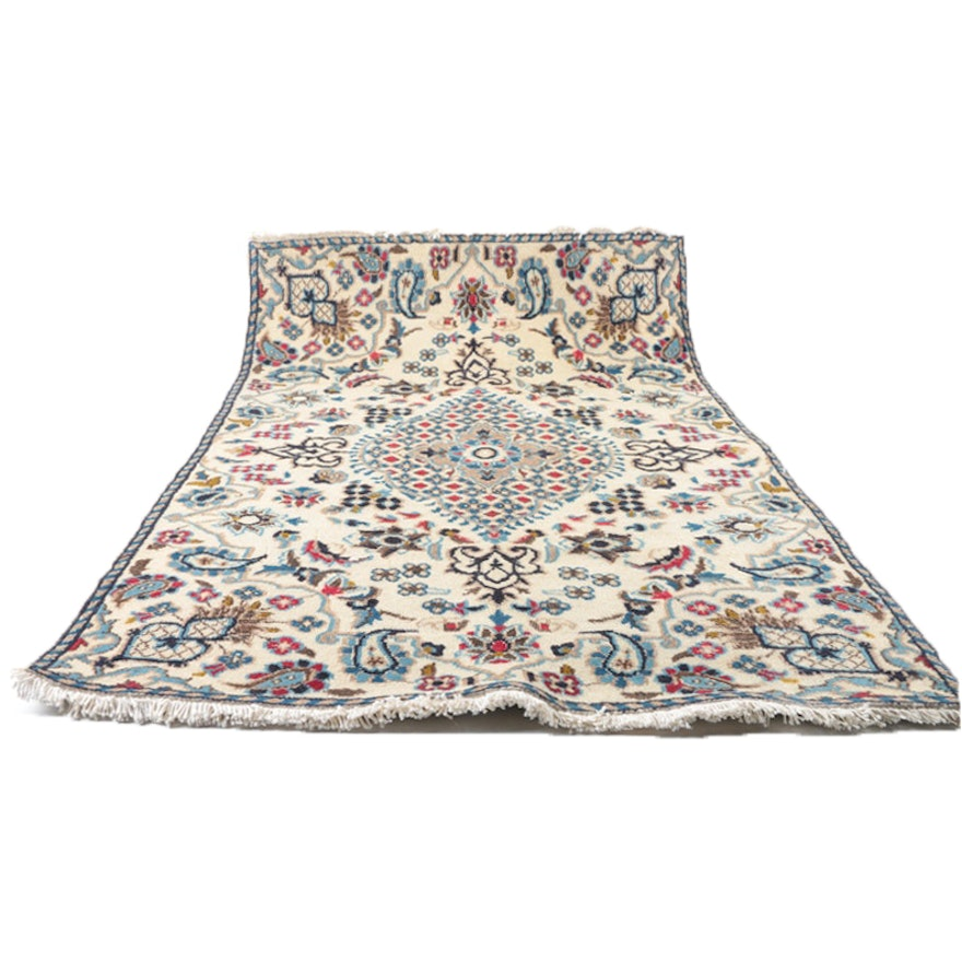Persian Hand Knotted Nain Wool And Silk Area Rug Ebth: Hand-Knotted Antique Persian Nain Rug Runner