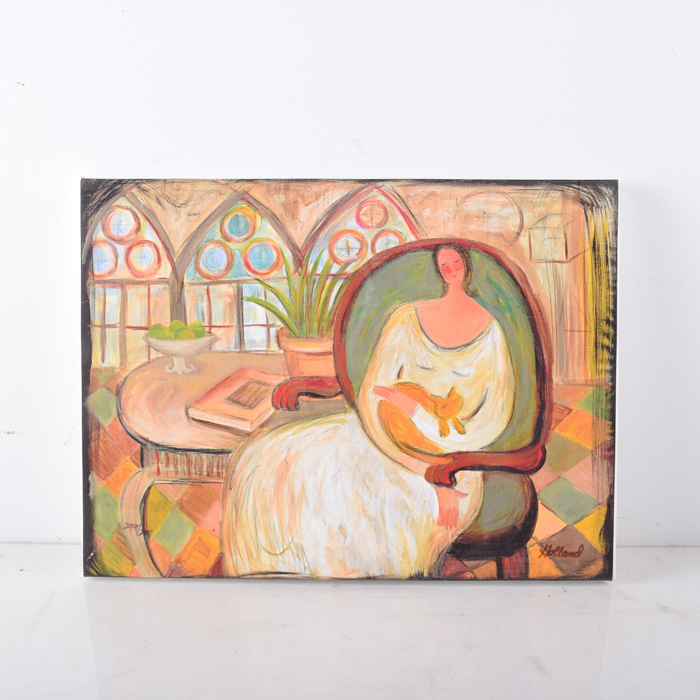 """Limited Edition Giclee on Canvas After Holland """"Feline & Fruit"""""""
