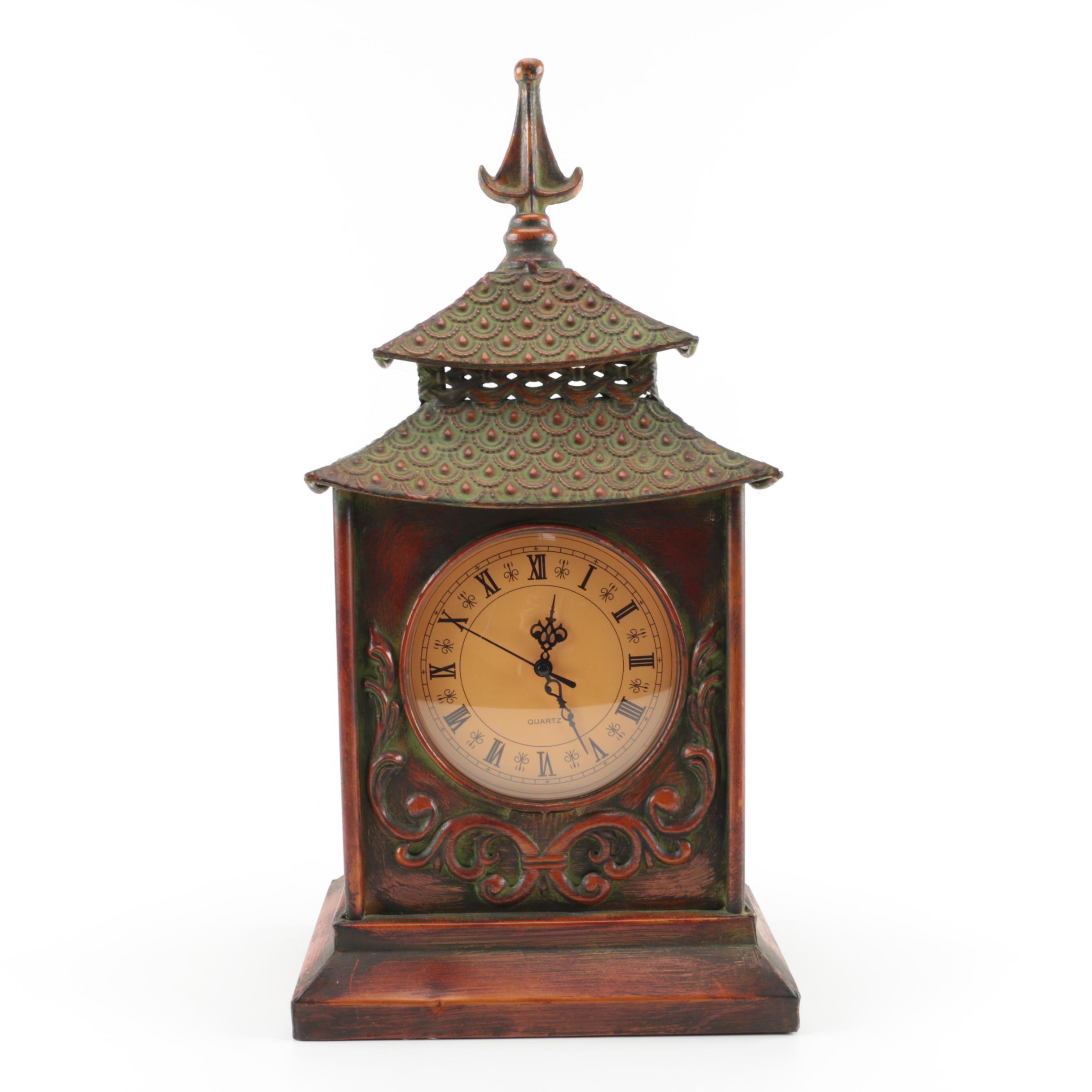 Pagoda Style Metal Mantel Clock