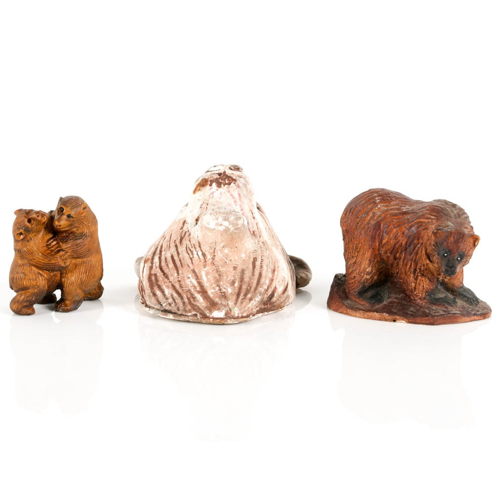 Collection of Wood and Ceramic Bears
