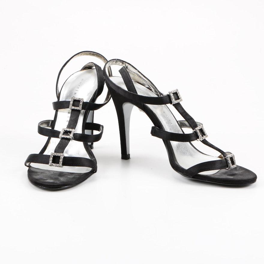 384bd5513da8e Martinez Valero Designer Black Satin and Rhinestone High Heels