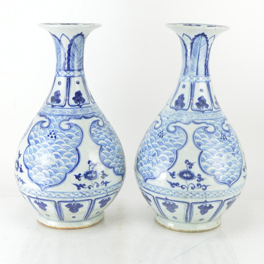 Antique Blue And White Chinese Vases Ebth