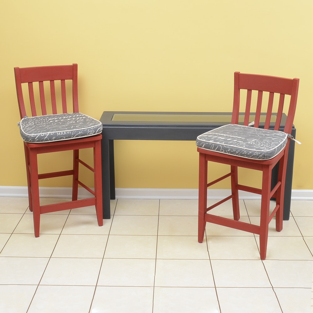 Console table and pair of slat back counter stools ebth