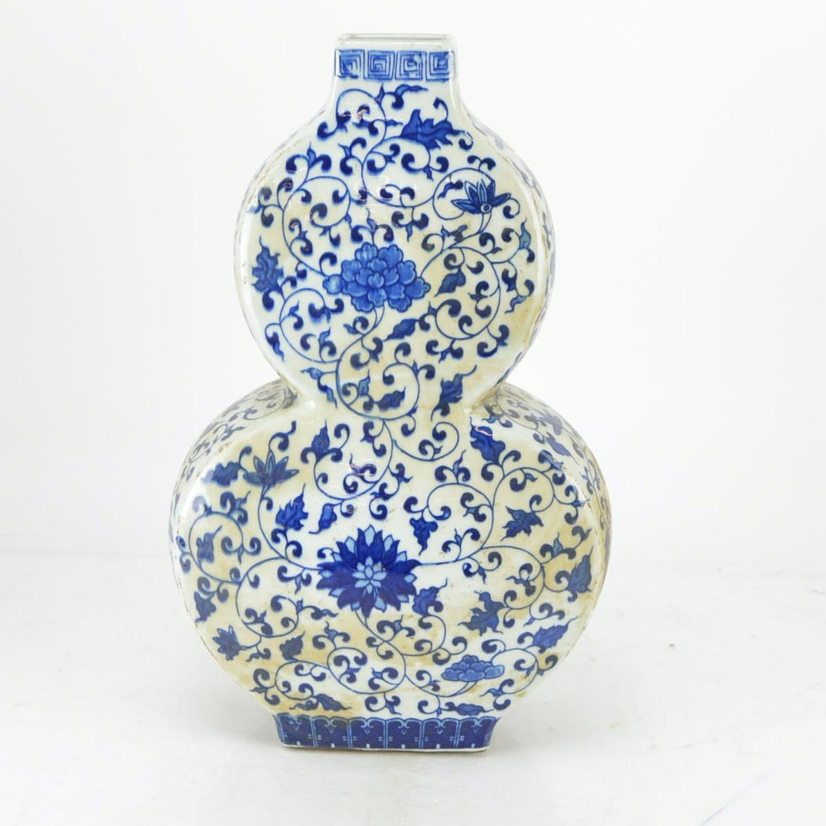 Vintage Blue on White Chinese Double-Gourd Shaped Vase