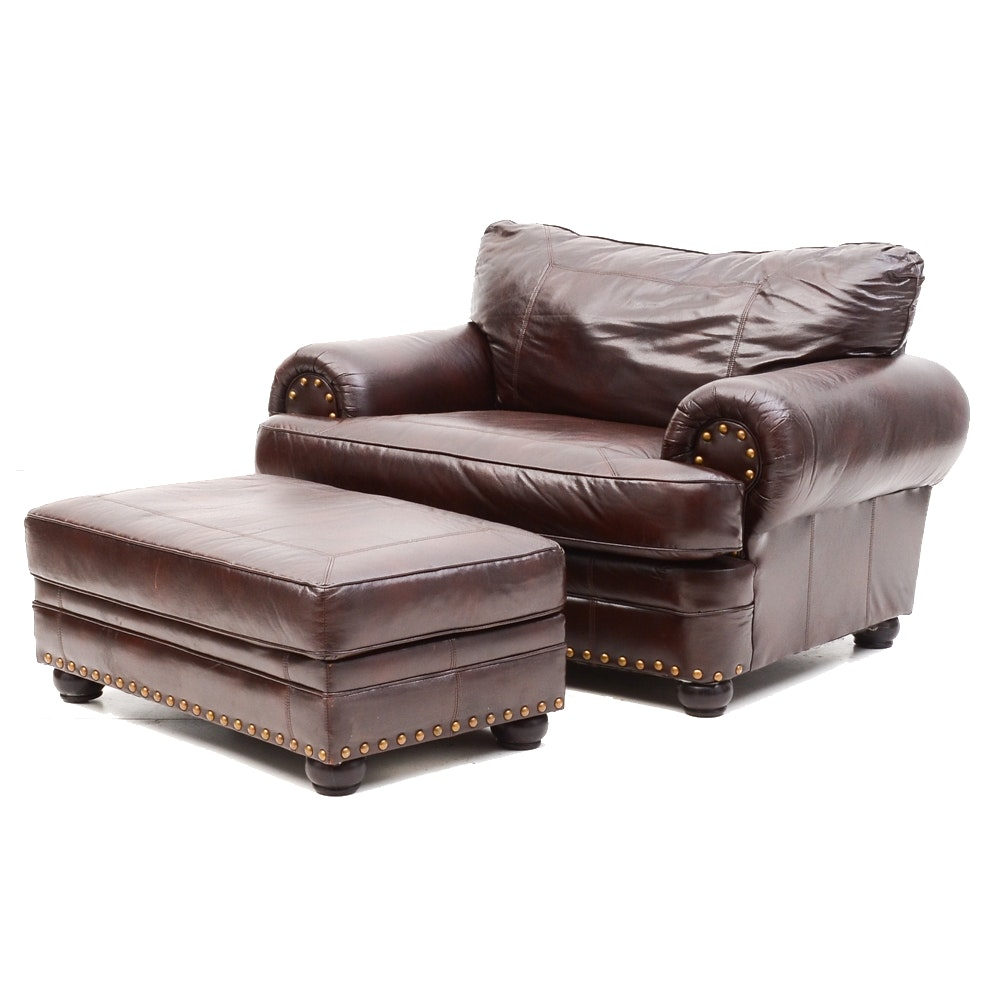 Faux Leather Oversized Armchair With Ottoman ...