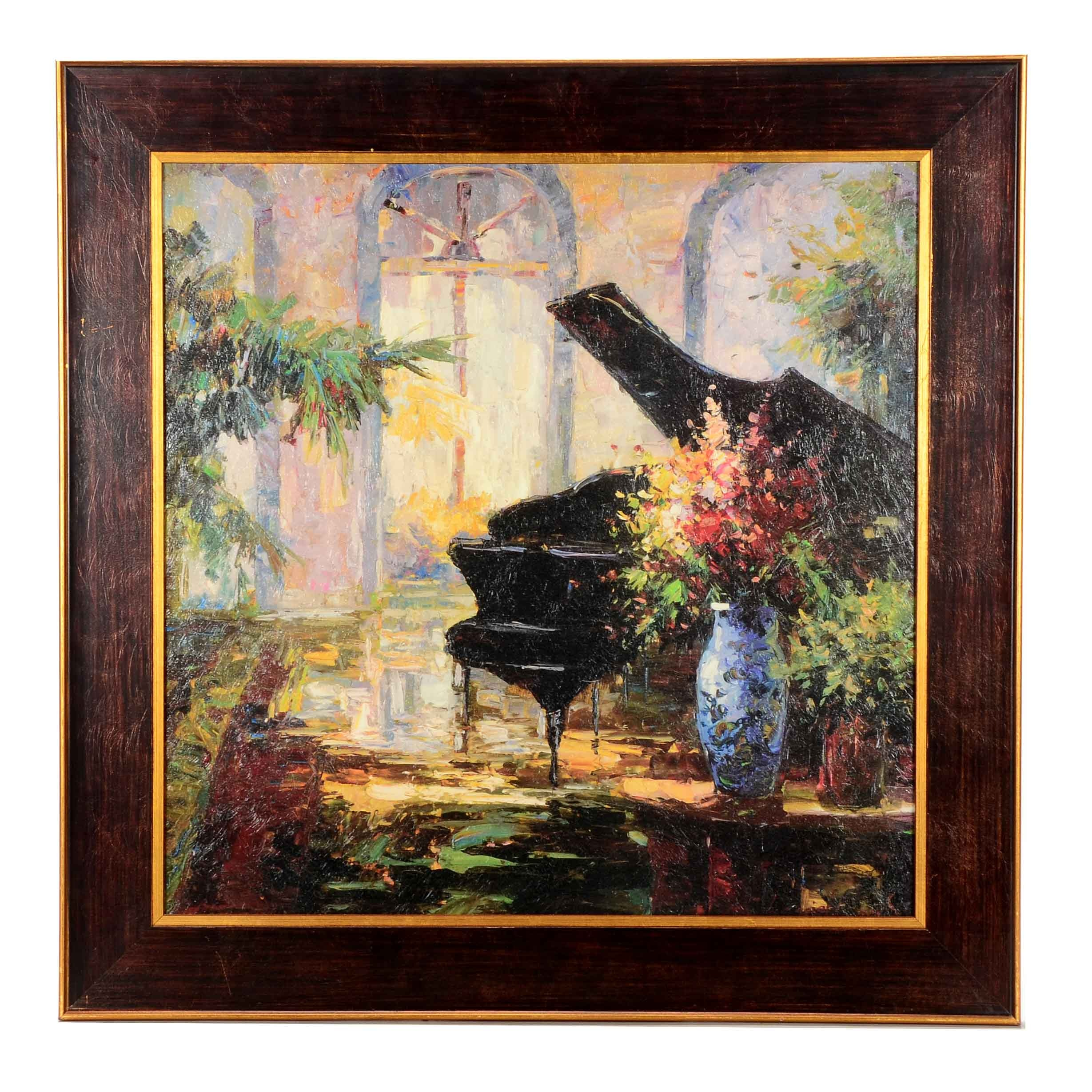 Varnished Offset Lithograph of Grand Piano