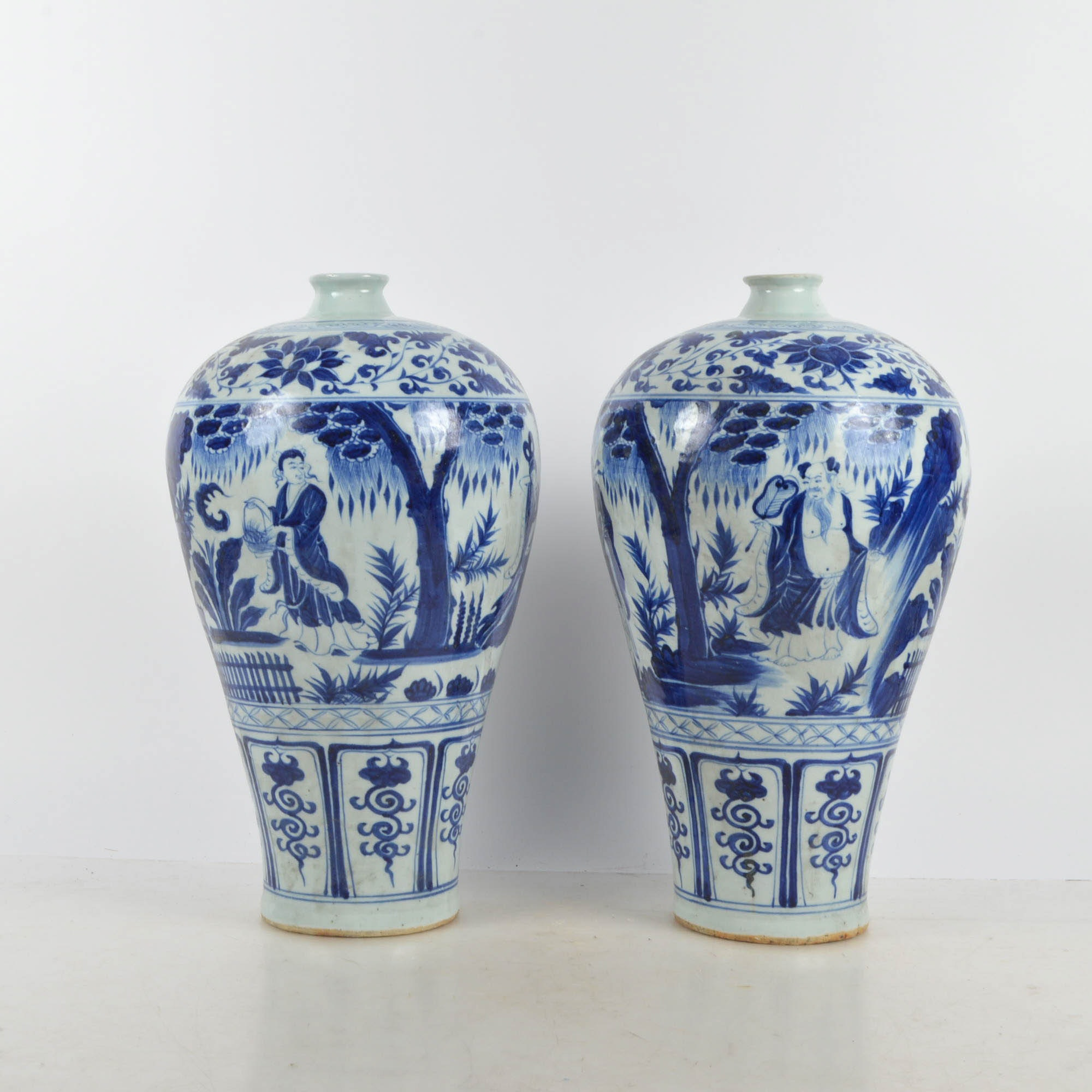 Blue On White Chinese Plum Vases Ebth