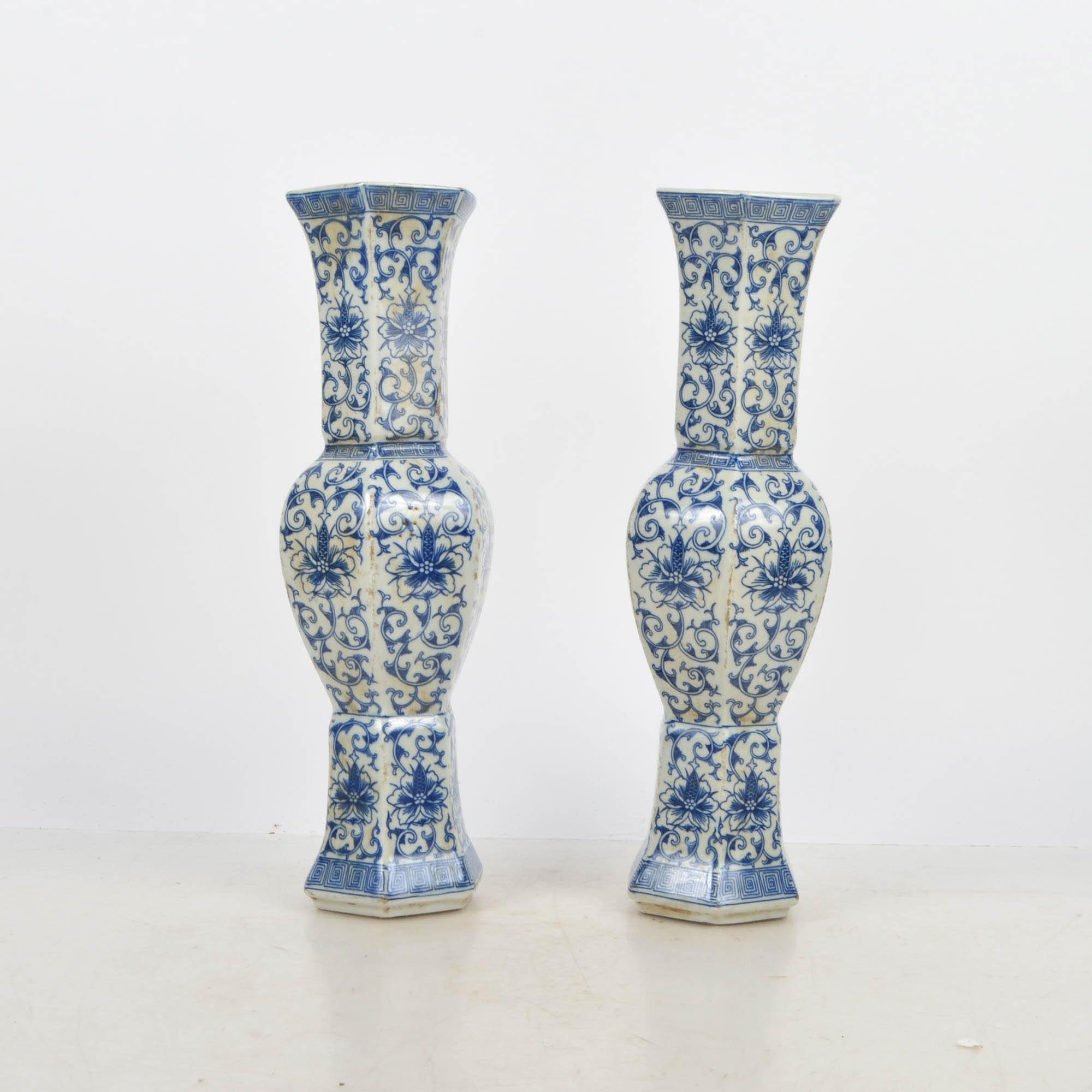 Chinese Blue on White Porcelain Vases