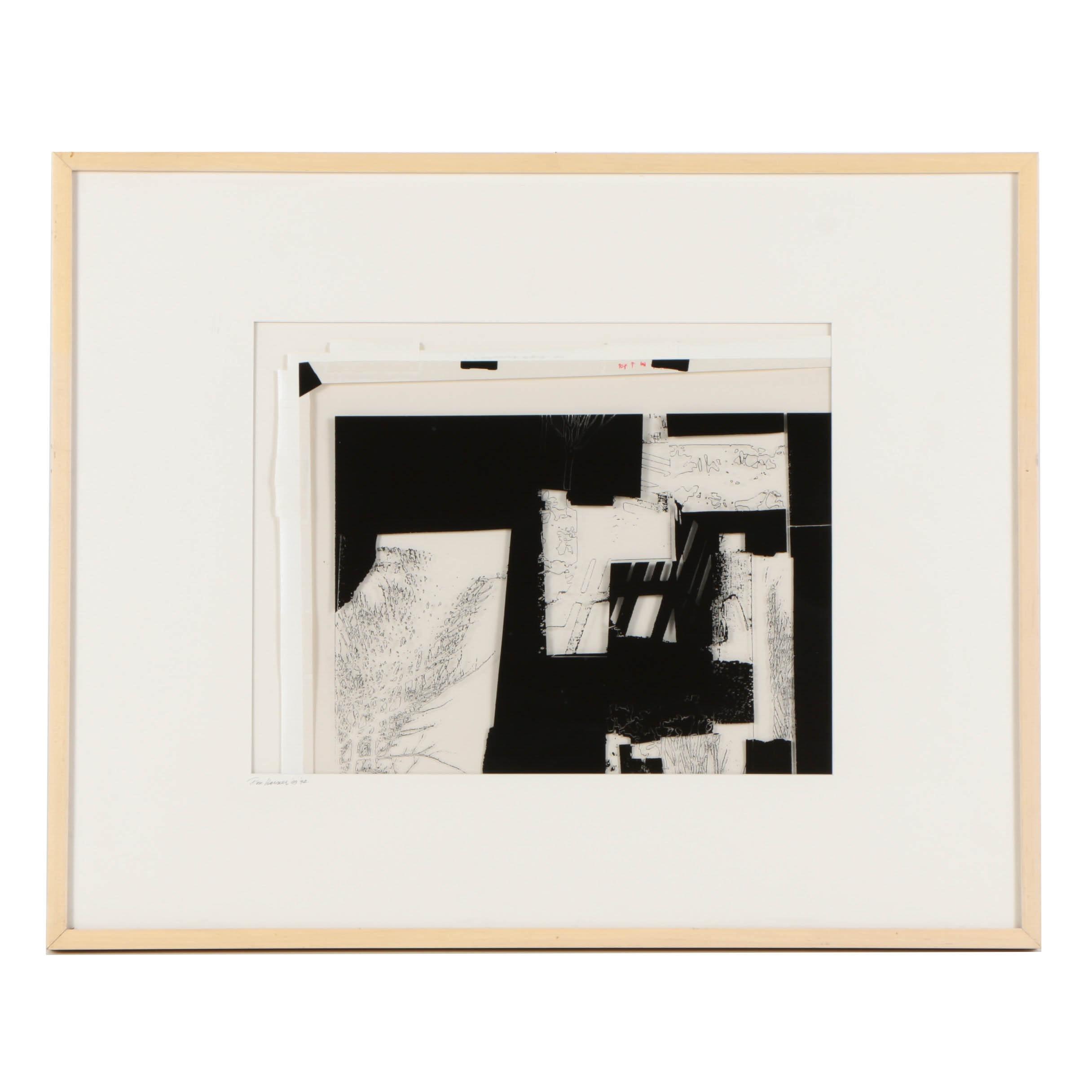 "Don Werner Black and White Photograph on Translucent Ground ""Vega"""