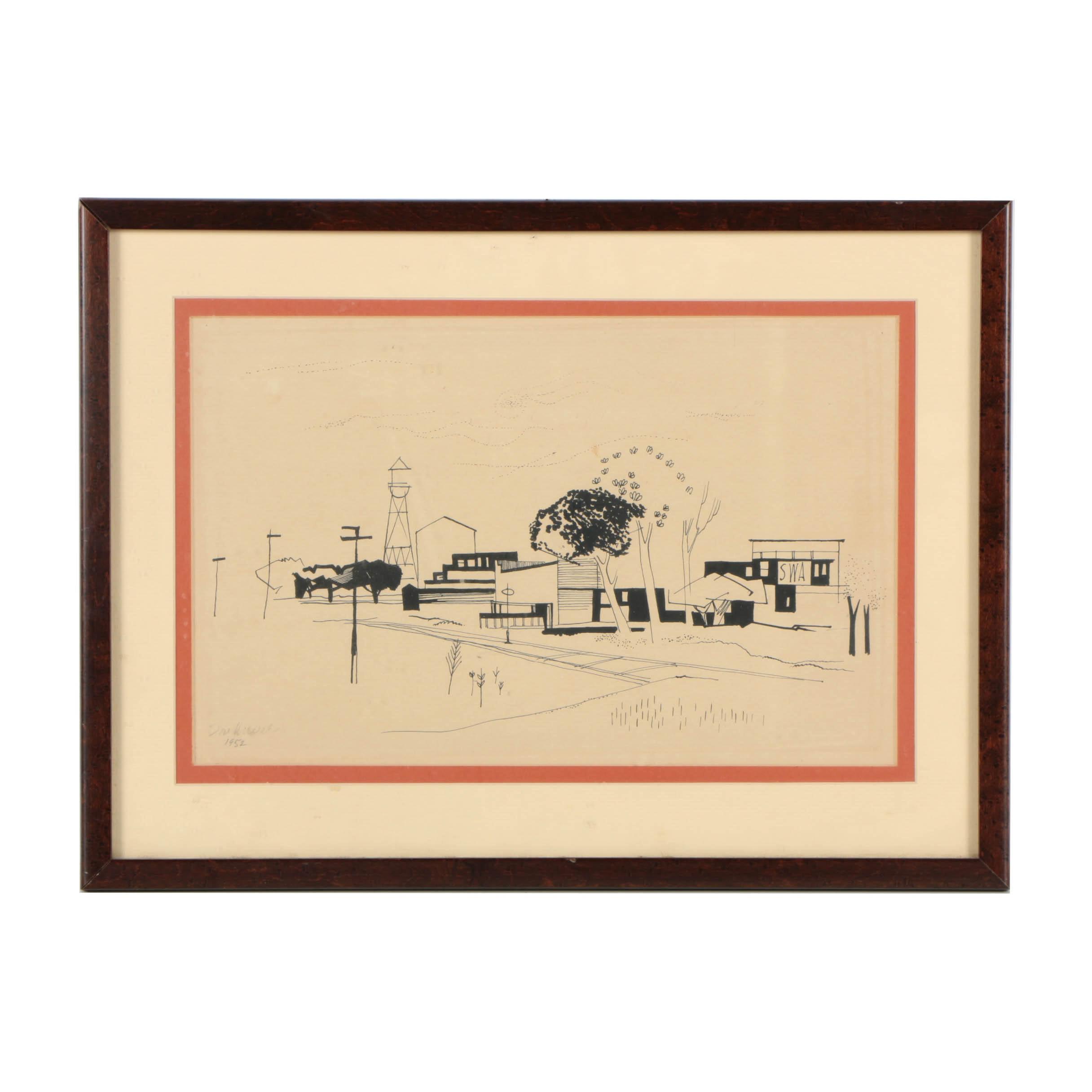 Don Werner Ink Architectural Landscape on Paper