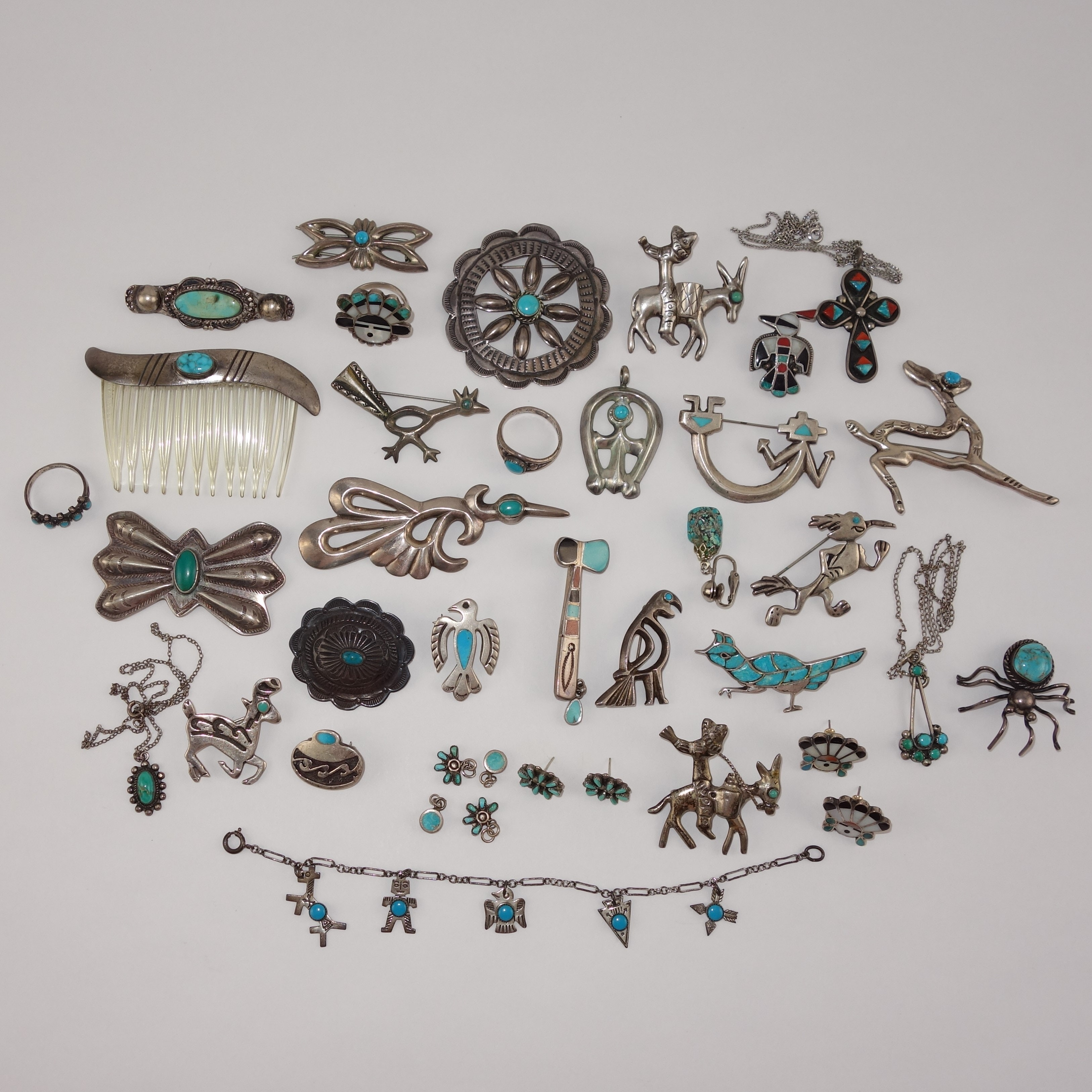 Native American Style and Mexican Sterling Silver and Turquoise Jewelry