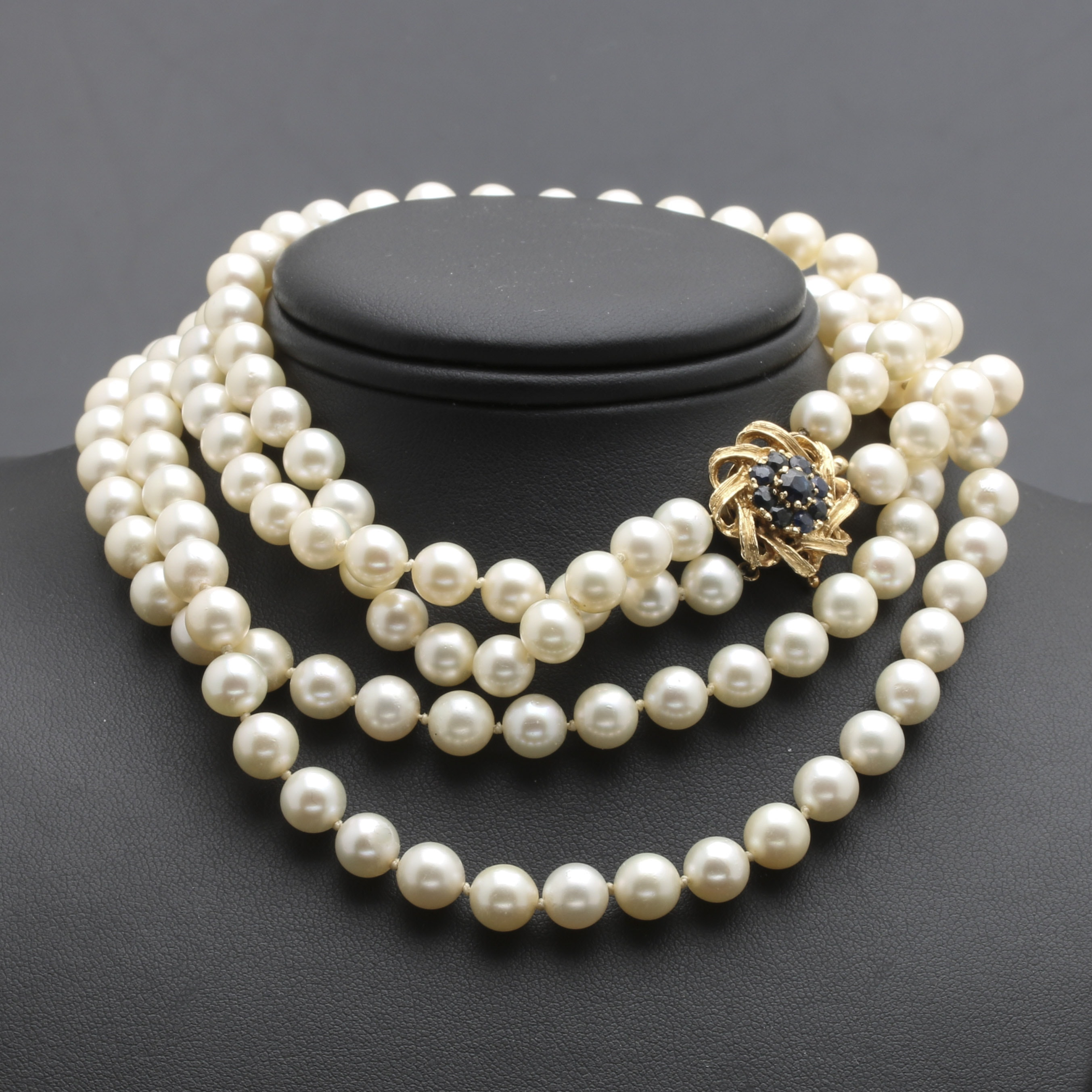 Pearl Necklace With 14K Yellow Gold Sapphire Closure