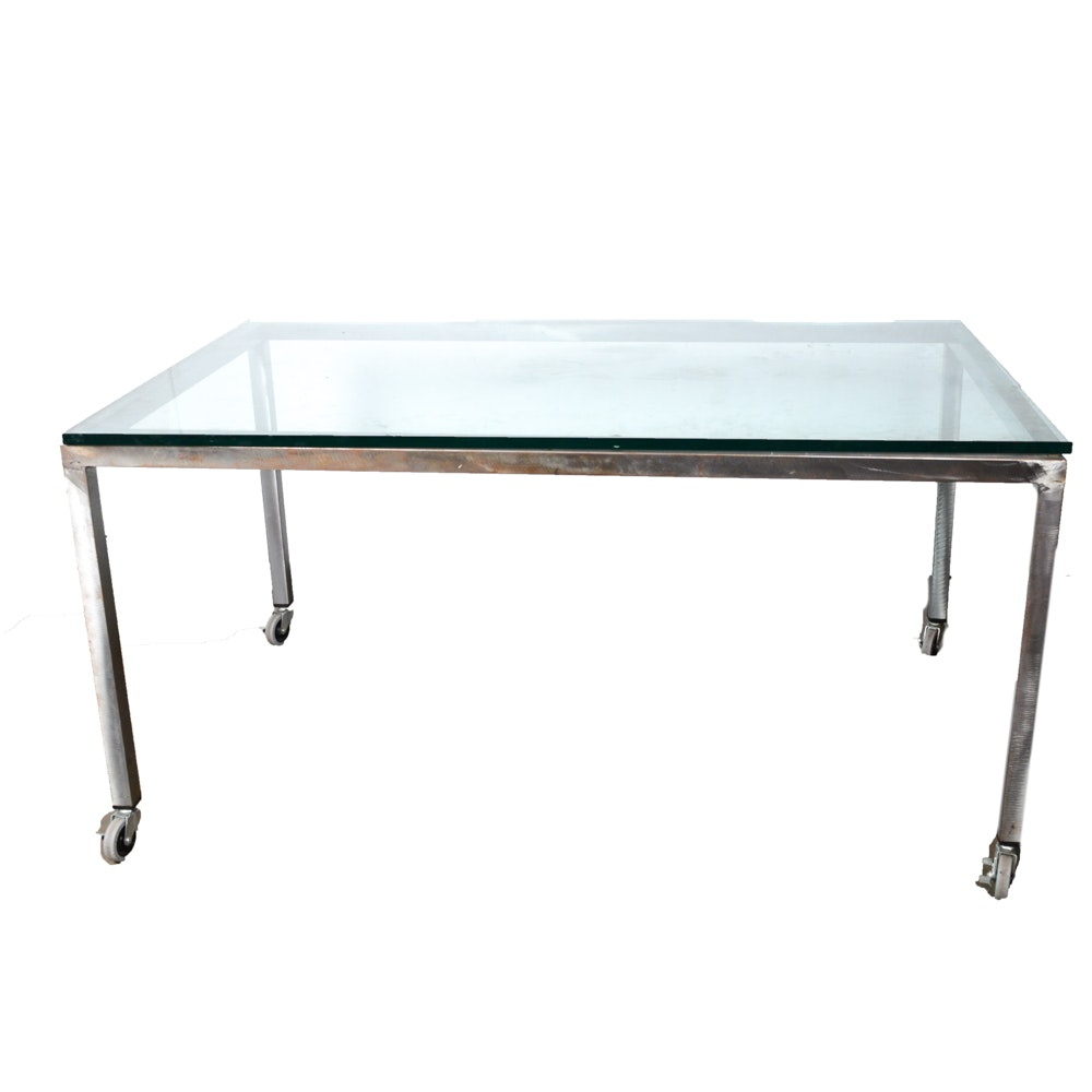 Steel Frame Glass Top Table