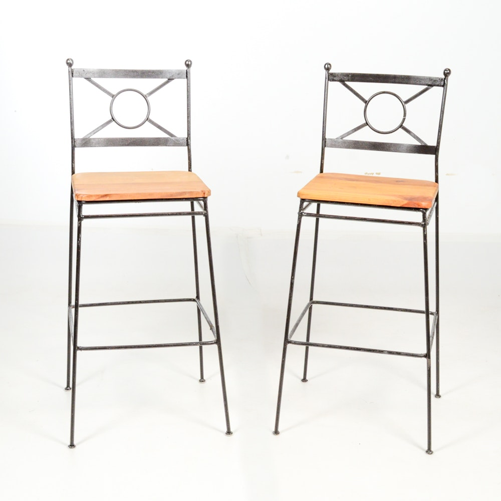 Set of Two Iron Bar Chairs