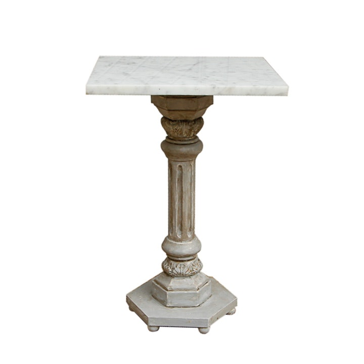 Neoclassical Style Pedestal Accent Table