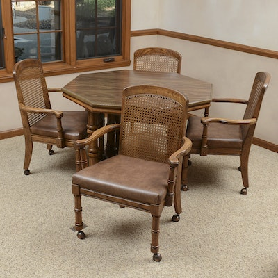 Octagonal Dining Table with Chairs - Vintage Dining Furniture Auction Antique Dining Furniture For