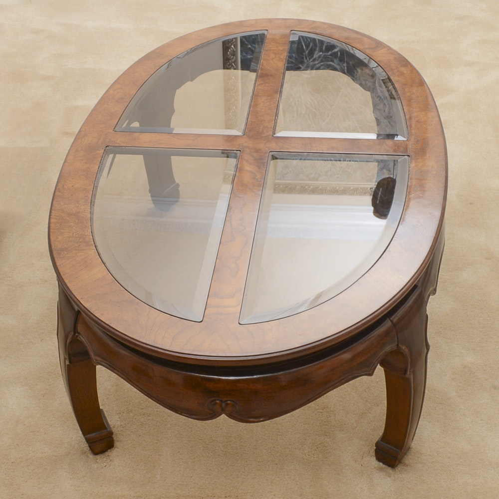 Asian Inspired Glass Top Coffee Table By Thomasville ...