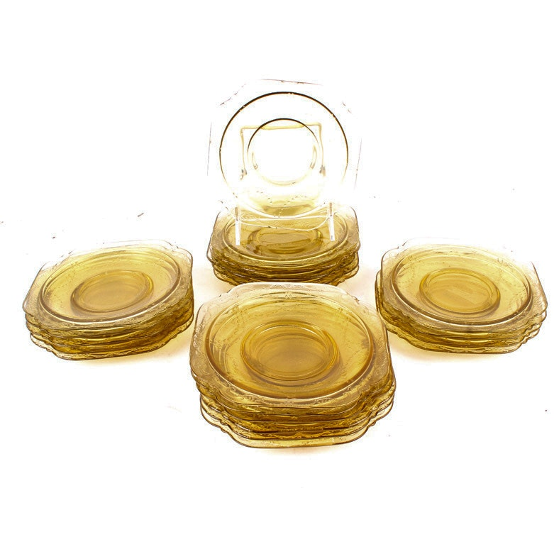 "Federal Glass ""Madrid Amber"" Saucers"