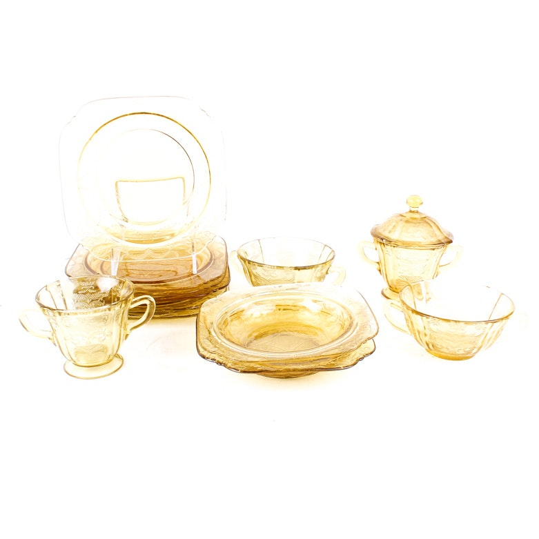 "Generous Assortment of ""Madrid"" Amber Glass Tableware by Federal Glass Company"