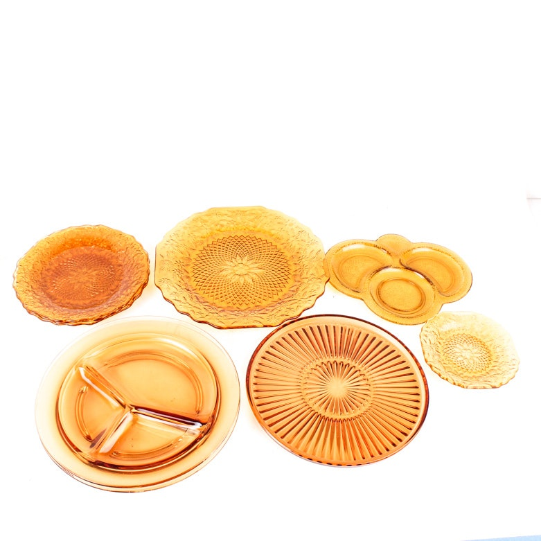 Assortment of Amber Depression Glass