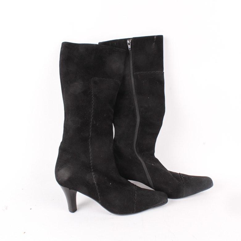 Via Spiga Black Suede Boots
