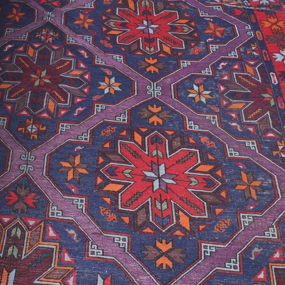 Large Semi-Antique Wool Daghestani Soumak Area Rug