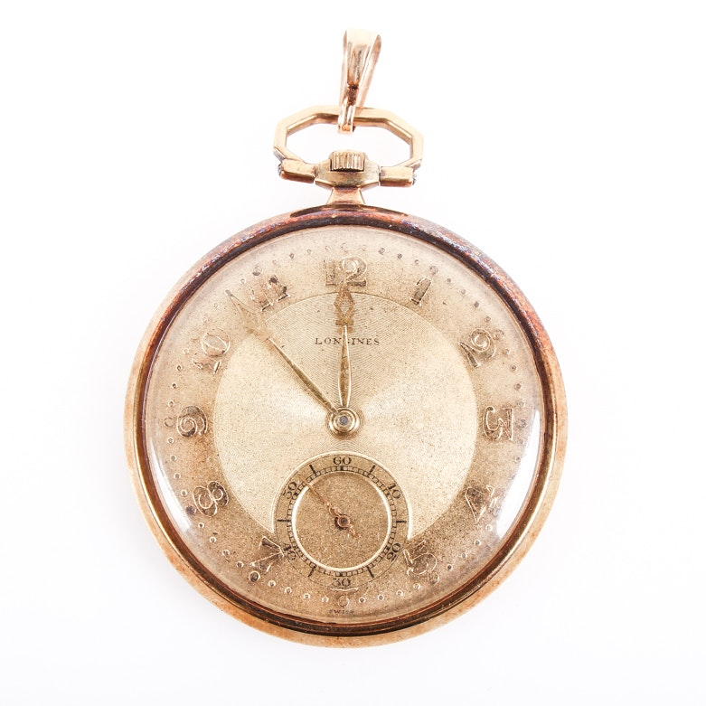 Antique 1913 Longines 14K Yellow Gold Pocket Watch