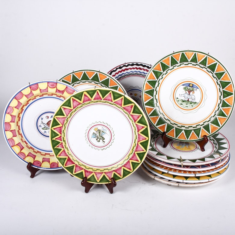 "Hand-Painted Italian ""Palio Di Siena"" Plates"