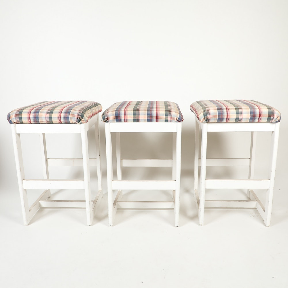 Three White Wooden Stools with Plaid Seats