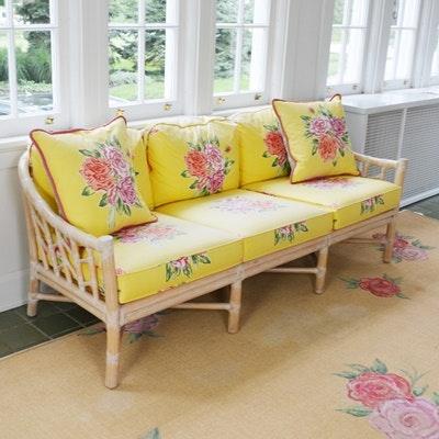 McGuire Rattan White Washed Sofa ...
