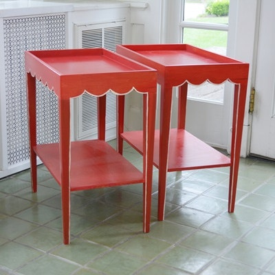 Red Painted Wood Side Tables