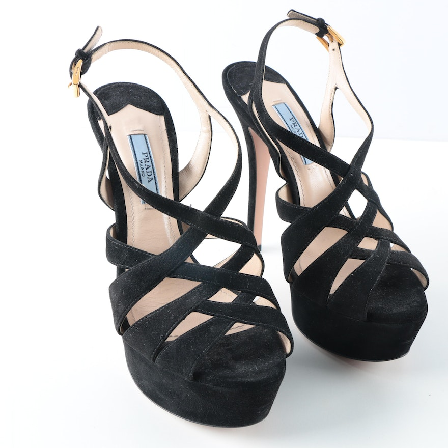 e8d08e953261d4 Prada Milano Black Suede Strappy Platform Dress Sandals with Stiletto Heel    EBTH