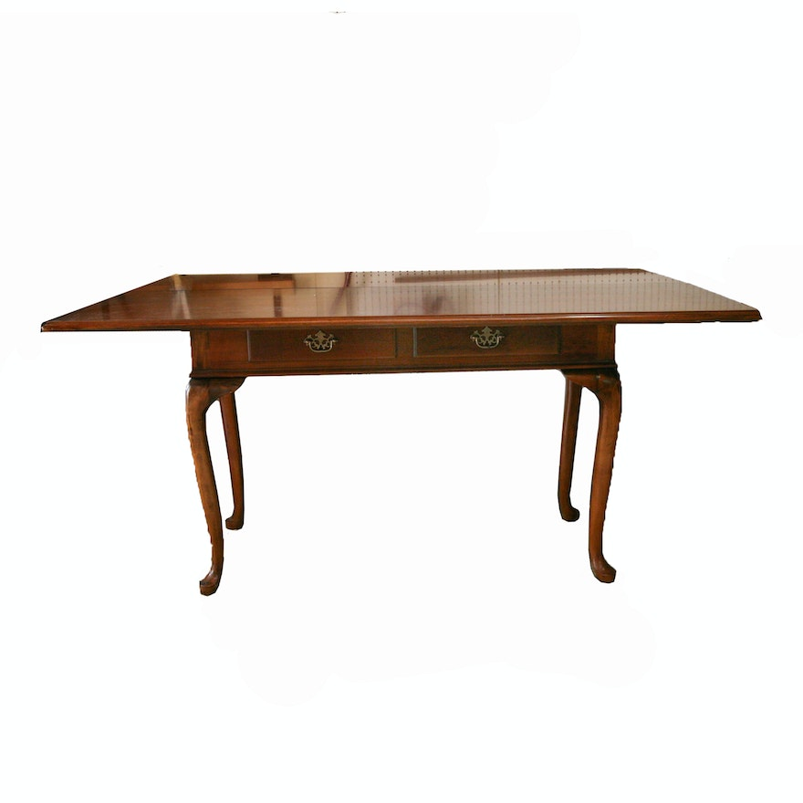 Queen Anne Style Folding Top Dining Or Console Table By