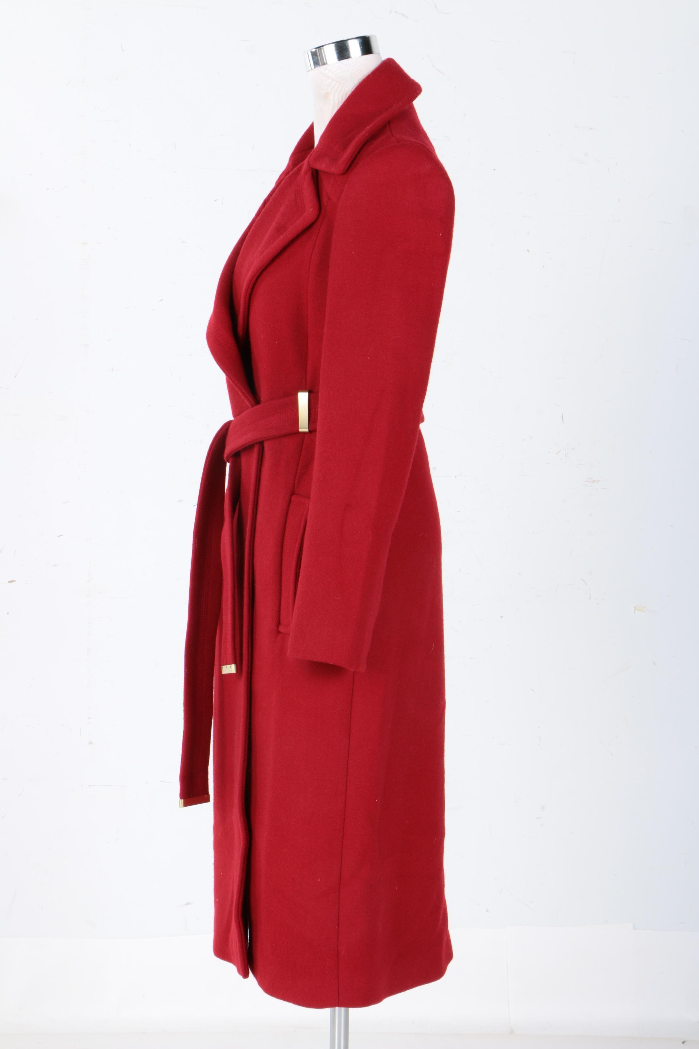 Women S Diane Von Furstenberg Red Wool Blend Overcoat Ebth
