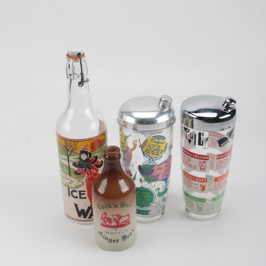 Assortment of Vintage Cocktail Shakers and Bottles