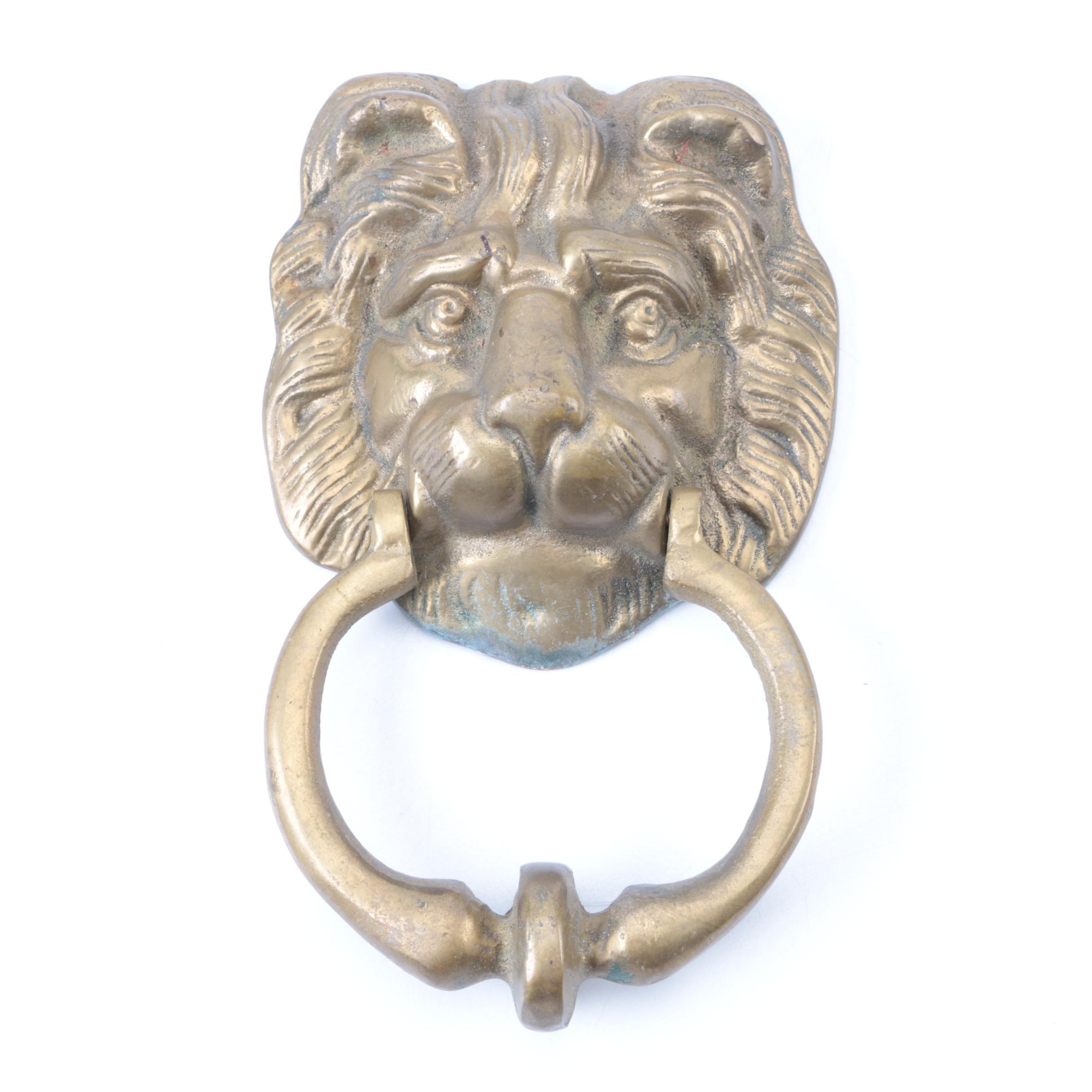 Vintage Brass Lion Head Door Knocker ...