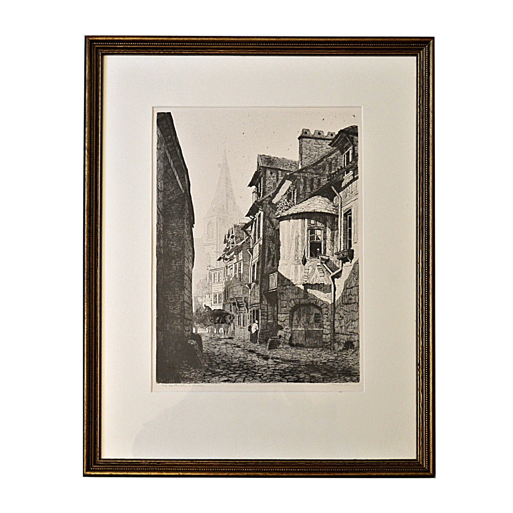 """1881 E. Nicolle Etching Titled """"Rue des Matelas in Rouen"""""""