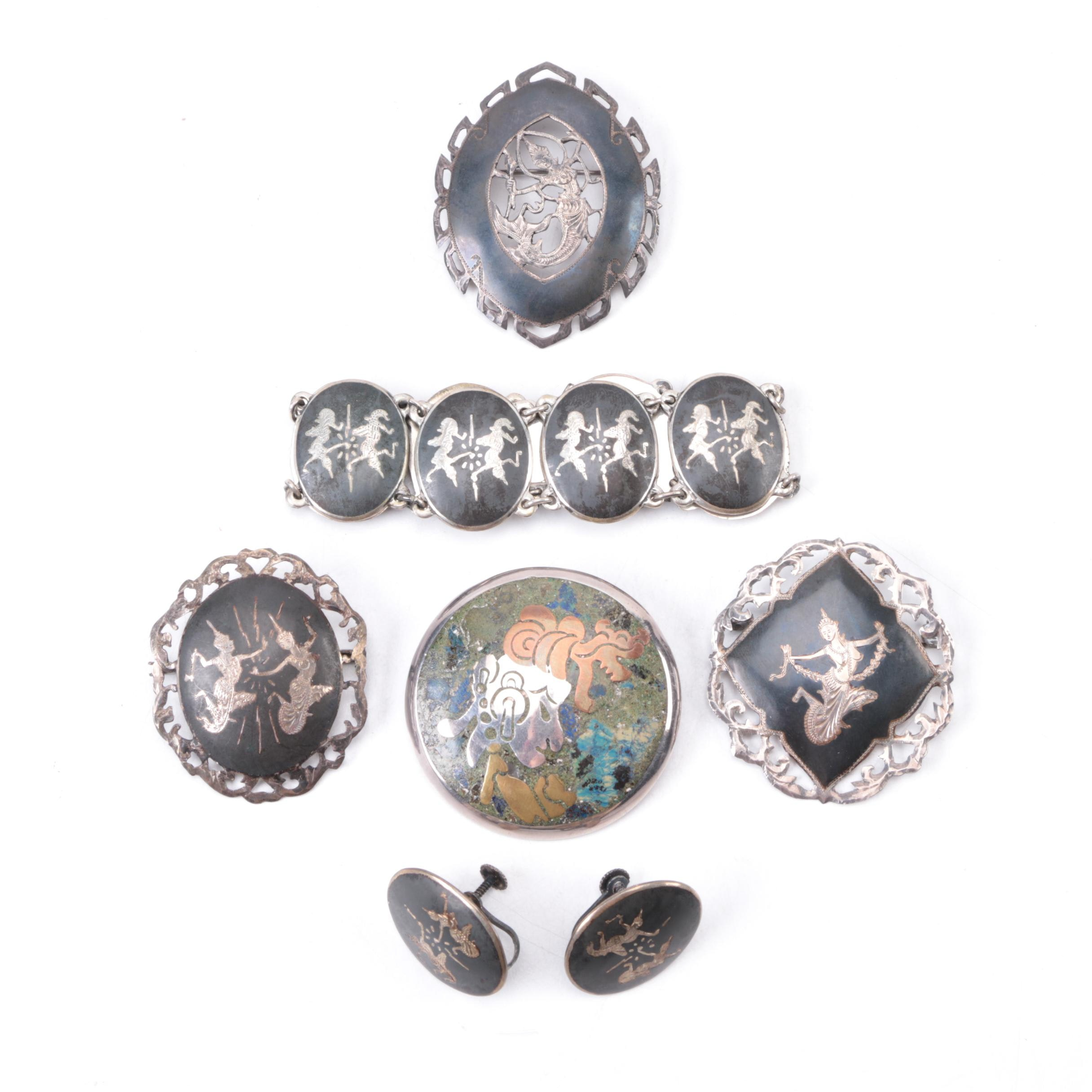 Selection of Sterling Jewelry Including Thai Nielloware Sterling Silver