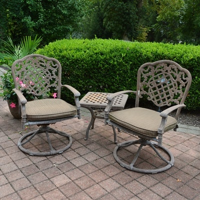 Outdoor Patio Aluminum Swivel Chairs and Table