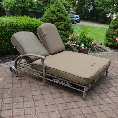Outdoor Patio Aluminum Double Chaise Lounge