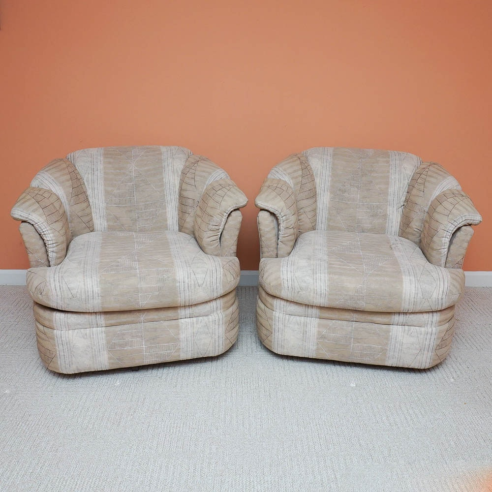 Pair of Regency Style Upholstered Club Chairs by Rowe