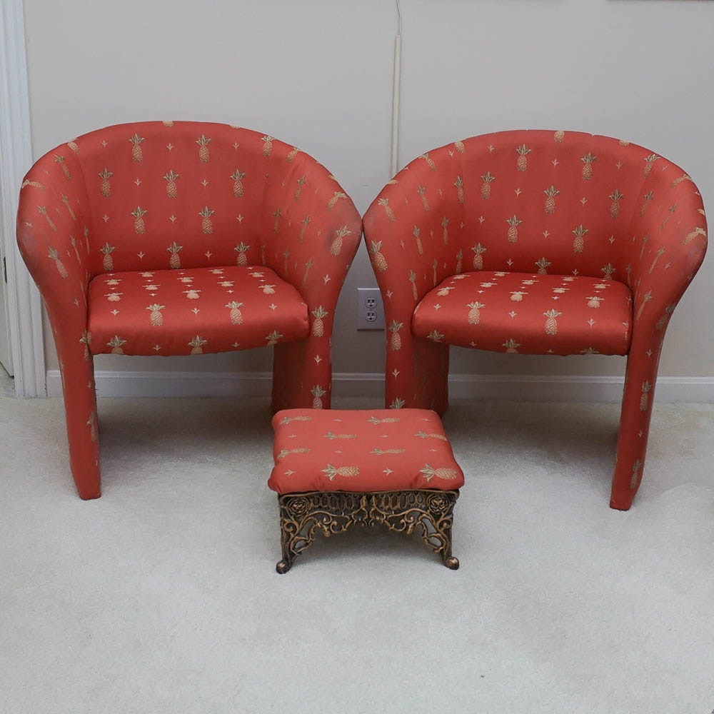 Pair of Regency Style Upholstered Armchairs and Footstool