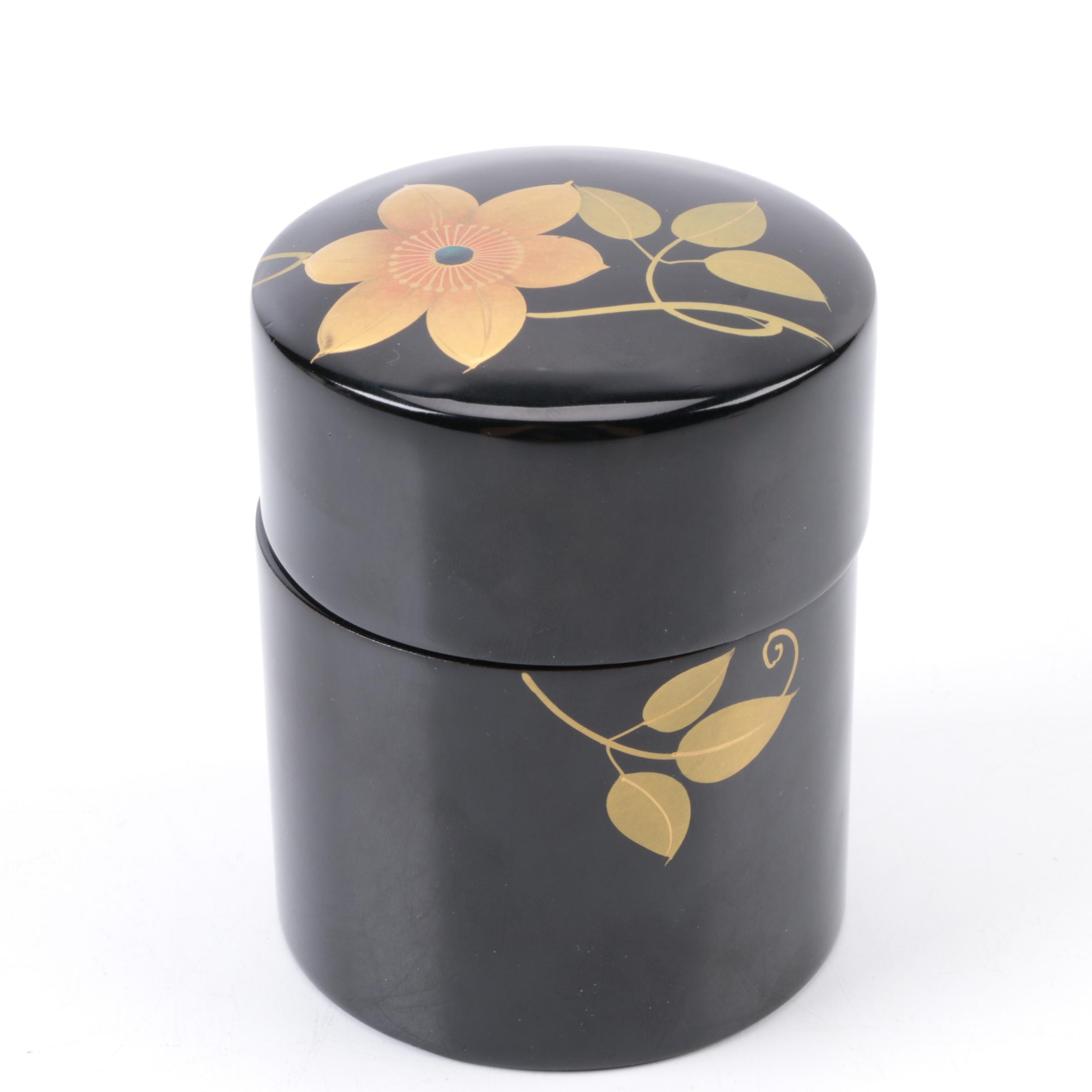 Japanese  Black Lacquer Tea Caddie Box